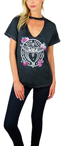 Bon Jovi Womens Distressed Graphic Choker Neck Tee (Large, Charcoal)