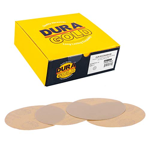 "Dura-Gold - Premium - 400 Grit 6"" Gold Hook & Loop No Hole Sanding Discs for DA Sanders - Box of 50 Sandpaper Finishing Discs for Automotive and Woodworking"