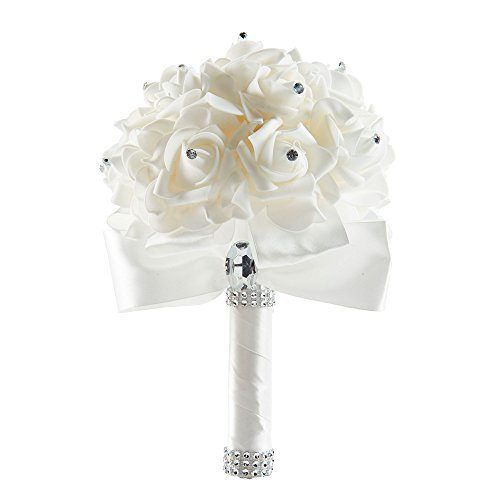 Tanpell Artificial Peony Silk Flowers Bouquet Home Decoration Rose Flowers for Wedding, Party and Church Ivory