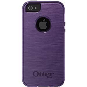 CUSTOM White OtterBox Commuter Series Case for Apple iPhone 5 / 5S - Purple Stainless Steel Print