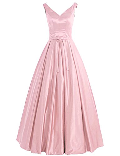 Simple, Bal Sans Manches En Satin Robes Robes De Soirée Ligne Rose Robe