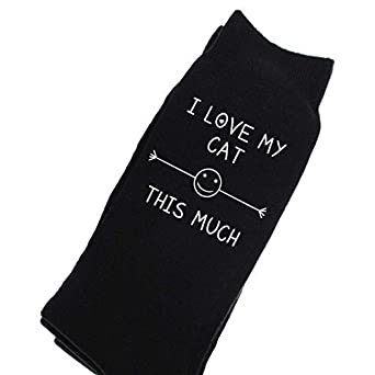 Mens I Love My Cat This Much Black Calf Socks Valentines Day Husband ...