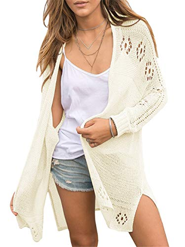 - YeMgSiP Women's Boho Open Stitch Crochet Knit Sleeve Cardigan Boyfriend Loose Casual Outwear Coat Baggy Sweaters Beige