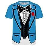 Toamen Men's Novelty Tee T-Shirt Sale Summer 3D Digital Printing Short Sleeve Tops Shirt Fancy Dress Party(Blue, S)