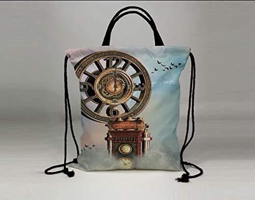 3D Print Drawstring Bag String Backpack,Fantasy,Magical Enchanted Landscape Big Antique Clock Flying Birds Fairytale,Light Blue Brown Pink,for Travel Gym School (Tula Pink Birds)