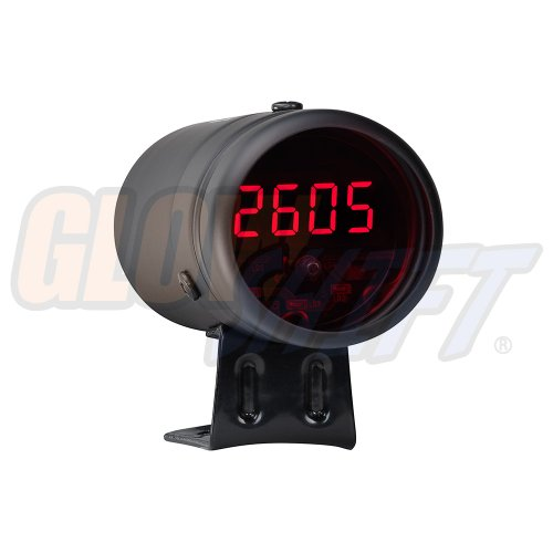 GlowShift Black Digital Tachometer & Red LED Shift Light