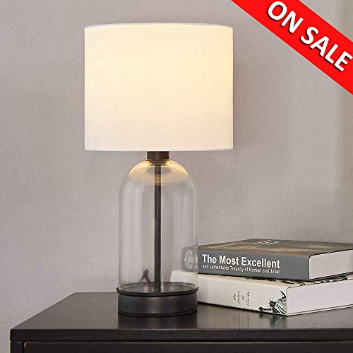 Cuaulans 16.15-in High Living Room Bedroom Glass Table Lamp, Black Cylindrical Side Desk Lamp with White Fabric Shade and Glass Body ()
