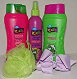 Girls Bath/Spa Time Fun Bundle Gift Set: 1 Purple Hair Bow Watermelon Spray-On Detangler 2 in 1 Shampoo & Condition Bath Wash Bath Sponge