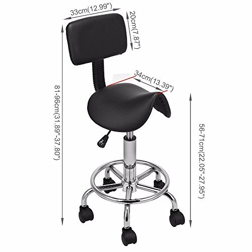 Hydraulic Saddle Salon Stool Massage Chair Tattoo Facial Spa Office Backrest