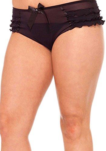 Avenue Leg Panties Mesh (Leg Avenue Plus Size Ruffle Tanga Panties)