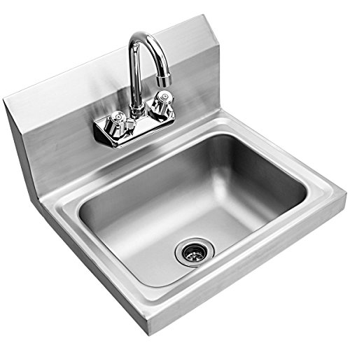 Giantex Commercial Stainless Steel Hand Washing Sink with Wall Mount Faucet Kitchen Heavy Duty Hot & Cold Temperature Water Inlet Washing Basin, Silver by Giantex (Image #4)