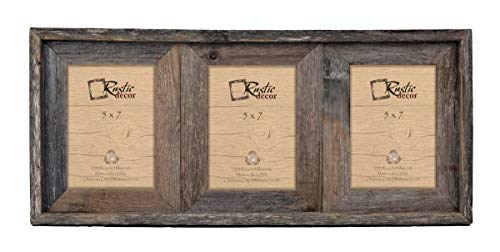 Cheap 5×7 – 2.5″ Wide Reclaimed Rustic Barnwood Collage Photo Frame – Holds 3 Photos