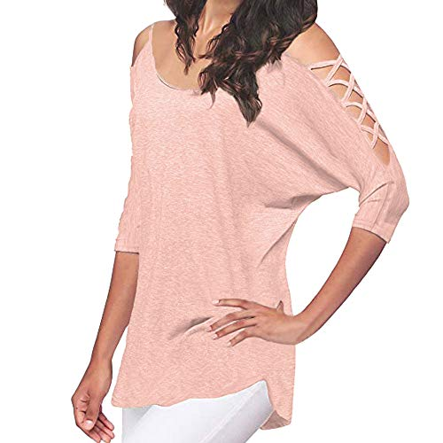 Clearance Womens Clothing WEUIE Women's Casual Hollowed Out Cold Shoulder Half Sleeve Tops (M, (Couture Dolman Sleeve)
