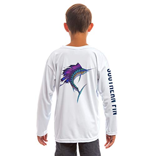 Southern Fin Apparel Youth Fishing Shirt for Kids Boys Girls Long Sleeve UV (Sailfish, Medium)