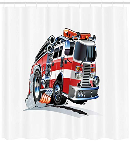 - Truck Shower Curtain Security of The Public Themed Speeding Vehicle Fire Department Dangerous Job Cloth Fabric Bathroom Decor Set with Hooks Extra Long Baby Blue 72