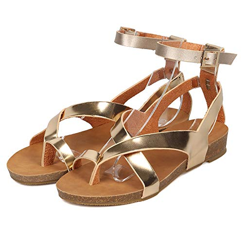 (Womens Flat Gladiator Sandals Ankle Wrap Strappy Buckle Toe Loop Cork Flip Flops Shoes Champagne 5.5)