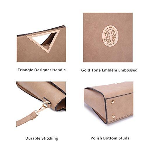 Dasein Women Designer Handbag Cut Out Triangle Top Handle Bag Large Tote Bag Fashion Work Purse