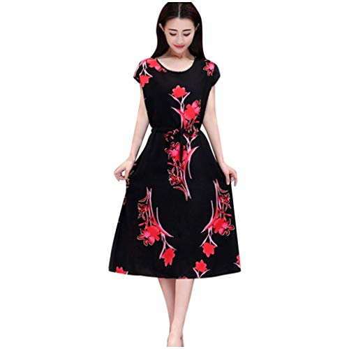Lutos Women Elegant O-Neck Short Sleeve Long Dress Casual Flower Printed Slim A-Line Dress