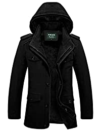 JEWOSOR Mens Winter Parka Jacket with Removable Hooded Coat Raincoat Trench