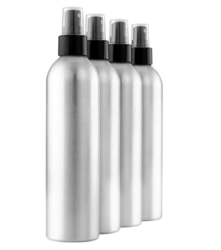 (Cornucopia Brands 8-Ounce Aluminum Fine Mist Spray Bottles (4-Pack); Large Metal Atomizer Bottles Hold 8-10oz)