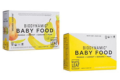 White Leaf Provisions Organic Biodynamic Baby Food 12 Pouches of Mango, Carrot, Banana & Pear