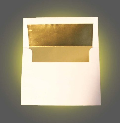 "White A2 (4 3/8"" x 5 3/4"") Gold Foil Lined Envelopes - 50 Envelopes - Desktop Publishing Supplies™ Brand Envelopes"