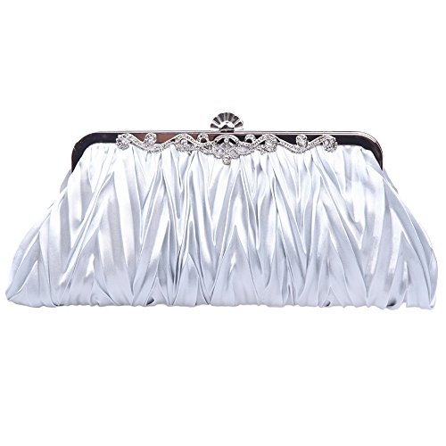 Fawziya Satin Pleated Clutch Purses For Women Evening Clutches For Wedding And Party-Silver (Pleated Silk Clutch)