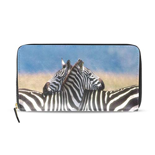 Clutch Wallet Bag Zebras Love Long Leather Wallets Zipper Around Credit Card Holder for Women/men ()