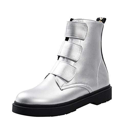 LYN Star Womens Cliff Walker Strap Hiking Outdoor Boots Boots Vegan & Eco-Friendly Mid-Calf Boots with Rubber Sole Silver