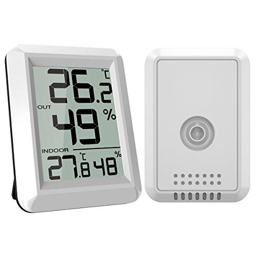 ORIA Indoor Outdoor Thermo Hygrometer, Digital Innen Außentemperatur und Luftfeuchtigkeit Monitor mit Außensensor, Großem LCD Display und ℃/℉ Schalter, Ideal für Schlafzimmer, Wohnzimmer, Lager, etc