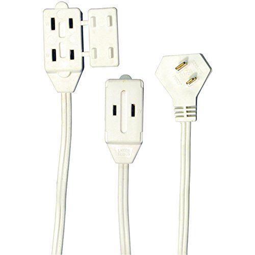 Axis 45503 6-Feet 3-Outlet White Wall Hugger Indoor Extension Cord