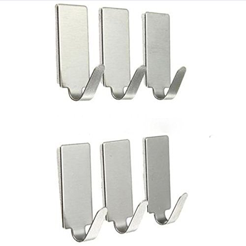️ Yu2d ❤️❤️ ️6PCS Self Adhesive Home Kitchen Wall Door Stainless Steel Holder Hook Hanger -