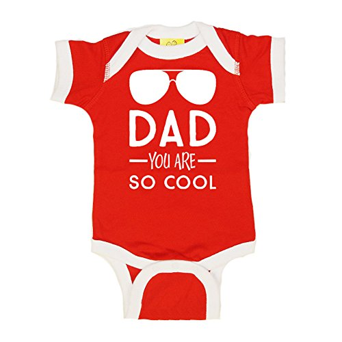 Mashed Clothing Unisex-Baby - Dad You Are So Cool (Sunglasses) Father's Day - Ringer Baby Bodysuit (Red/White, - Announcements Sunglasses Baby 3