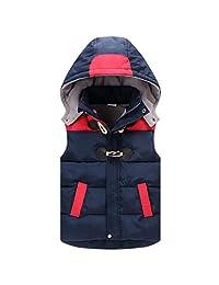 Boys Girls Hooded Gilet Vest Sleeveless Jacket Winter Warm Coat for 2-6 Years