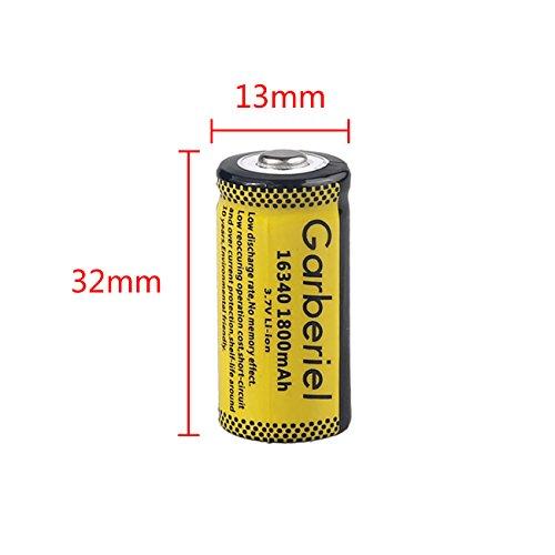 Garberiel 10-Pack 3.7v 16340 Li-ion Rechargeable Battery CR123A Battery for LED Flashlight by Garberiel (Image #3)