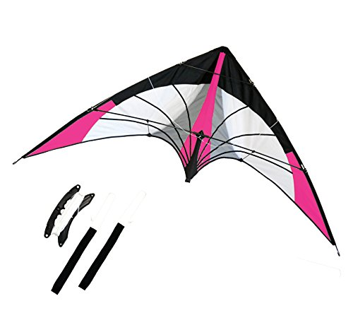 Backyard Stunt Stunt Kite, Dual Line, 68-inch Wingspan. Great Outdoor Sport. Professional Wrist Starps. Three Colors Available (Pink)