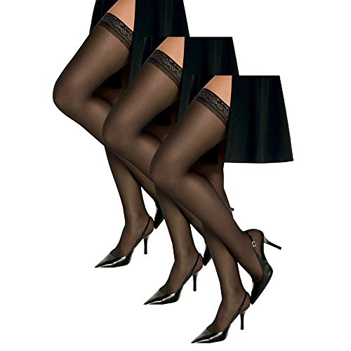 Silky Sheer Thigh High - Hanes Women`s Set of 3 Silk Reflections Silky Sheer Thigh High - Best-Seller! CD, Jet