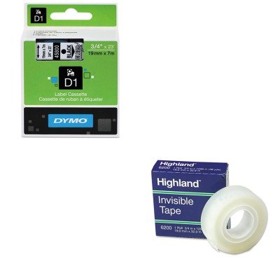 KITDYM45800MMM6200341296 - Value Kit - Dymo D1 Standard Tape Cartridge for Dymo Label Makers (DYM45800) and Highland Invisible Permanent Mending Tape (MMM6200341296)