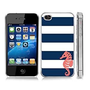 Coral Seahorse Sea Life Blue Stripes Snap-On Cover Hard Carrying Case for iPhone 4/4S (Clear)