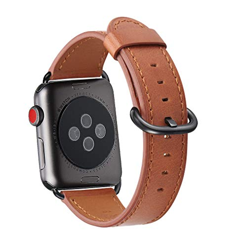 WFEAGL Compatible iWatch Band 42mm 44mm, Top Grain Leather Band Replacement Strap for iWatch Series 4,Series 3,Series 2,Series 1,Sport, Edition (Brown Band+Black Adapter,42mm 44mm)