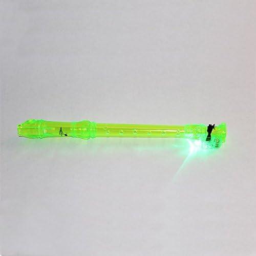 Green Translucent Soprano Light Up Recorder with blue illuminated light