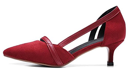 Easemax Femmes Sexy Bout Pointu Mi Chaton Talons D-orsay Pompes Chaussures Rouge