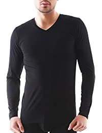 David Archy Men's 2 Pack V-Neck Long Sleeve Cotton T-shirts
