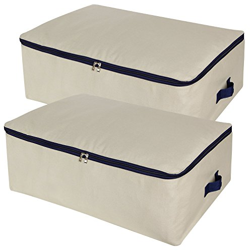 Lifewit Cotton Canvas 100L Large Capacity Storage Bags Foldable Underbed Storage Bag for Comforters, Blanket, Bedding, Duvet, 2 Pack - Large Underbed Storage