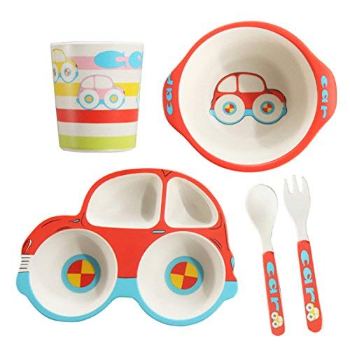 5 Piece Bamboo Dinnerware for Kids, Toddler, Car Plate and Bowl Set, BPA Free, Eco Friendly and Dishwasher Safe, Great Gift for Birthday, Baby Shower by JUKER