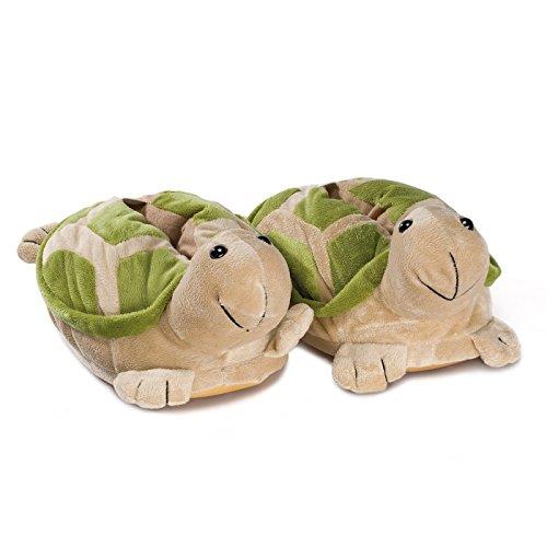 Funslippers Lustige Hausschuhe Tierhausschuhe Erwachsene und Kinder Schadstoffgeprüft** Schildkröte Plüsch Hausschuhe mit Gummisohle