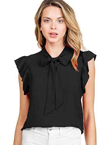 (FASHIONOLIC Women's Casual Cap Sleeve Bow Tie Blouse Top Shirts (PSALM23) Black S)