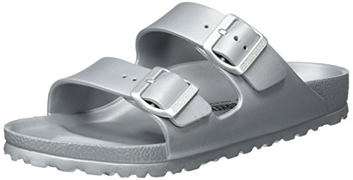 Birkenstock Unisex Arizona EVA Dual Buckle Sandals, Metallic Silver - 39 N EU