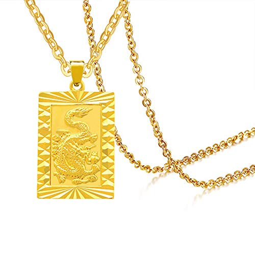 Xusamss Hip Hop Plated 18K Gold Alloy Dog Tag Pendant Animal Dragon Necklace with 20