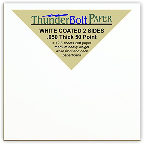 500 Sheets Chipboard 50pt white 1 side - 4 X 4 Inches Small Square Card Size - Medium Thick Weight PaperBoard .050 (point) Caliper White Coated on One Side Cardboard by ThunderBolt Paper by ThunderBolt Paper